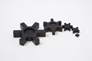 Rubber gears for use in mechanical applications