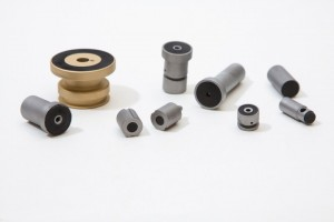 Small parts with bonded rubber
